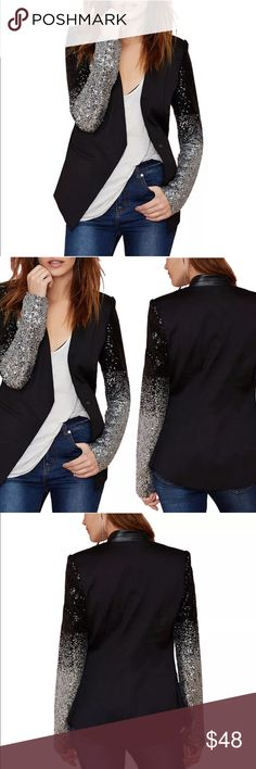 Sequin London Blazer Black double layered sequin arm London UK blazer. Fabric in black with black and silver sequin arm design. Gorgeous classic hem. Jackets & Coats Blazers