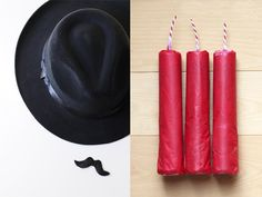 Spy Party Party Ideas - Tubes of M's wrapped in tissue paper become sticks of dynamite