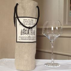 Sac à bouteille de vin en lin avec poignées Plus