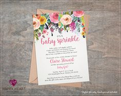 Rose Floral Girl Baby Sprinkle Shower Invitation / Beautiful Watercolor Roses Flowers Floral / Pink Yellow Orange / Whimsical Invite (Card Size: 5x7)  All wording is editable, just let me know what you would like it to say!  ~~~~~ I DESIGN, YOU PRINT! ~~~~~ ------------------------------------------------------- ........... HERES HOW IT WORKS ........... ------------------------------------------------------- 1. Purchase by clicking the ADD TO CART button and make payment via direct checkout…
