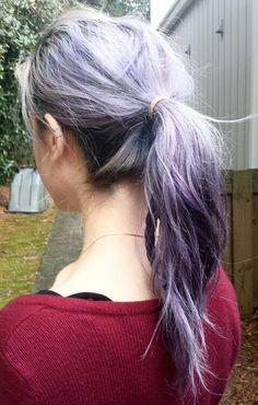 Messy ponytail with braids ... grunge hair lavender hair purple hair silver hair pravana vivids pastel hair