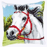 "Vervaco WHITE HORSE  Chunky Cross Stitch Cushion Front Kit 16"" x 16"""