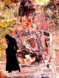 13-MUROS de ARTE (Cris Acqua) Pintura MIxta Collage. 30x21 cm. MUROS de ARTE. Mixed Media.  He jugado con seda en los muros, con pinturas, con periódicos, con cepillos y pinceles impregnados de cola, con mis recuerdos, con mis fantasias, con mi rabia, con mi alegria, pero siempre , siempre..como amante encaprichada, obsesivamente del ARTE... (Cris Acqua) www.crisacqua.com
