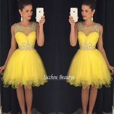 Curto amarelo vestidos Homecoming 2016 nova ilusão Sheer do pescoço da colher faísca Rhinstone Prom festa vestido menina Tulle vestido graduação(China (Mainland))