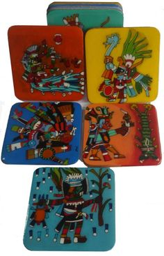 Posavasos de la Cultura Azteca Pintados a mano Acrilico / MDF
