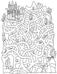 Free Printable Mazes for Kids Mazes For Kids, Crafts For Kids, Colouring Pages, Coloring Books, Paper Games, Paper Toys, Hidden Pictures, Activity Sheets, Preschool Worksheets