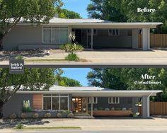Ranch Exterior, Bungalow Exterior, Exterior Remodel, Exterior House Colors, Exterior Paint, Exterior Design, Mid Century Exterior, Home Exterior Makeover, Ranch Remodel