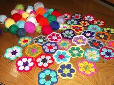 Nueva cartera de flores africanas tejida