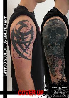 CoverUp / Black & Grey Tattoo / Totenkopf & Friedhof / Skull & Graveyard