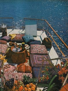 Bohemian boat ride... I'll have a sailboat, so I don't know how often my deck will actually look like this, but I want everyone to feel like it looks like this when they are aboard. :-)