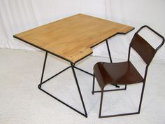 vintage retro drafting tubular desk bauhaus style and chair