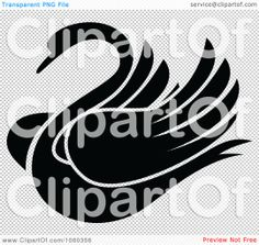 swan tattoo Clip Art | ... -Free Vector Clip Art Illustration of a Black And White Swan Logo
