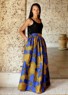 African print maxi skirt By Mélange Mode Www.melangemode.etsy.com