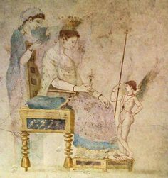 Fresco of the goddess fully clothed and seated on a throne, crowned with a wreath, holding a flower; behind her one of the Graces places a sheer veil over her head; Eros stands in front of her, holding his mother's staff. From Cubicle B of the Villa Farnesina. Late Republic-Early Empire (2nd-3rd Pompeian Style). Rome, Museo Nazionale Romano.