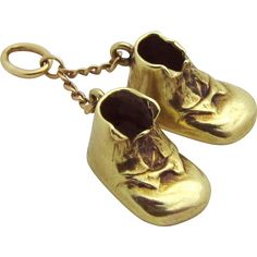 """Vintage 14K Gold 3D BABY SHOES """"Booties"""" Sloan & Co. Dangle Charm from…"""