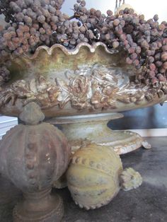 decorative urn with dried dadeltakken (date berries) & finials Lavender Blue, Lilac, Garden Urns, Earl Grey Tea, White Cottage, Fade Color, French Decor, Architectural Salvage, Inspired Homes