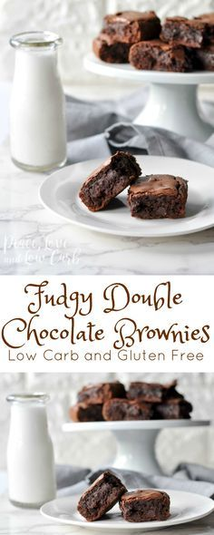 Fudgy Double Chocolate Brownies and a GIVEAWAY! | Peace Love and Low Carb  via @PeaceLoveLoCarb
