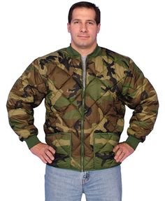 Camouflage Jacket Diamond Quilted Camo Coat  Diamond quilted, nylon outershell. Thermal polyfiberfill lining. Two front slash pockets. Zipper closure. Woodland camo urban utility cold weather jacket. Men's sizes: Small through 5XL.  Less than 40 bucks!