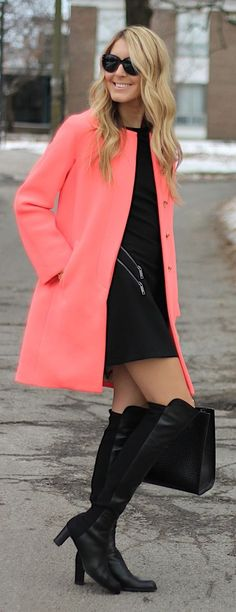 Coral Coat Outfit Idea...different boots for me though.