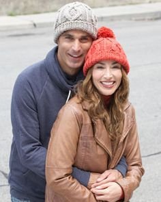 Get cozy in these classic Cable Hats. Shown in Bernat Softee Chunky.