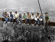 famous photo of some workers at lunch. Taken by Charles C. during construction of the GE Building at Rockefeller…