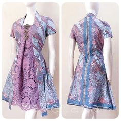 Purplish Pink Batik Dress with Lace Batik Fashion, Ethnic Fashion, Hijab Fashion, Fashion Dresses, Dress Outfits, Model Dress Batik, Batik Dress, Dress Brokat, Kebaya Dress