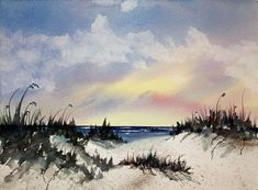 Beachscape Original Watercolor Painting Matted by Tracee Murphy. This image is no longer on the site because it has been sold. Beach Watercolor, Watercolor Landscape, Watercolour Painting, Watercolours, Bob Ross, Watercolor Techniques, Beach Art, Pictures To Paint, Amazing Art
