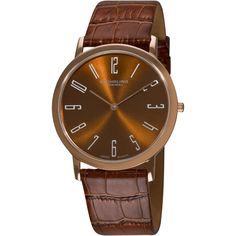 Stuhrling Original Men's Brown 'Belmont' Ultra Slim Watch ($76) ❤ liked on Polyvore featuring men's fashion, men's jewelry, men's watches, brown, mens brown leather watches, men's blue dial watches, mens watches jewelry, mens diamond bezel watches and mens watches