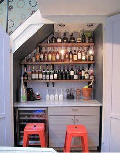 wine closet- bar under stairs! Mini Bars, Bar Under Stairs, Upper West Side Apartment, Closet Bar, Closet Shelves, Closet Space, Closet Ideas, Fridge Shelves, Bar Shelves