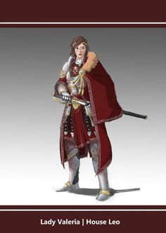 female lady warrior sword armour armor cloak scar red maroon scarlet noble royal    Lady Valeria | House Leo by L3monJuic3 on DeviantArt