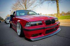 BMW E36 3 series red deep dish slammed