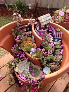 Fairy garden made from a broken pot