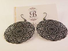 Vera  Black Circular Filigree Earrings by BellanaCreations on Etsy, $10.00