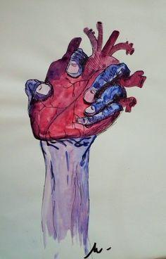 """""""Heart""""  Aquarelle/feutre noir"""