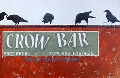 """THE CROW BAR- Contemporary Whimsical Raven Painting by Cristina Del Sol Mixed Media, Oils, Pigments and Cold Wax ~ 24"""" x 36"""""""