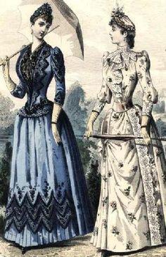 2b2c0efc687 1890 Fashion Plate Victorian Gown, 1890s Fashion, Edwardian Fashion,  Vintage Fashion, Vintage