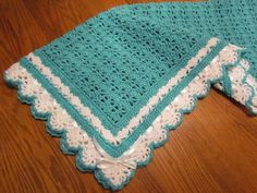 Crochet Baby Blanket Heirloom Lace Boutique Quality Afghan in Turquoise ,Ribbon Trim - Ready to Ship - Direct Checkout by pegsyarncreations on Etsy