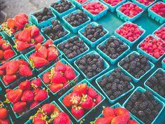 Fresh strawberries & blackberries from the Clement Street Farmers Market, San Francisco.  Photography by Carla Gabriel Garcia