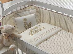 Jogo de Lençol Bebê Poá Cáqui Estampado 3pçs | Malha Soft