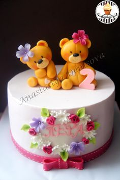 New Birthday Girl Cake Tips Ideas Fancy Cakes, Cute Cakes, Fondant Cakes, Cupcake Cakes, Pink Birthday Cakes, Baby Girl Cakes, Gateaux Cake, Bear Cakes, Love Cake