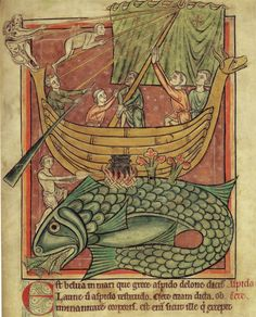 A ship landing on a whale mistaken for an island in an early century bestiary, London, Appears in: Sea Monsters on Medieval and Renaissance Maps by Chet Van Duzer, 2013 Medieval Books, Medieval Life, Medieval Manuscript, Medieval Art, Illuminated Manuscript, Illustrations Vintage, Illustration Art, Renaissance, St Brendan