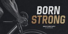 Born Strong Font: Born Strong is built with athletics in mind. The goal was to make the perfect typeface for sports teams, college football, athletic w. Great Fonts, New Fonts, Strong Font, Bold Italic, Font Face, Family Support, Rook, Font Family, Art Logo