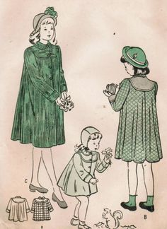1940s Butterick 4568 Vintage Sewing Pattern Girls' Flare Back Coat Size 8