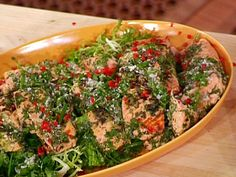 Herbed Pan Roast of Salmon with Warm Greens and Herb Vinaigrette recipe from Emeril Lagasse via Food Network