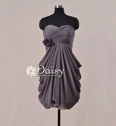 Short Grey Chiffon Formal Dress