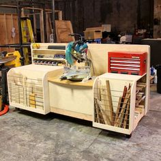 Compound miter saw workstation....Don't know why I never thought to use the space behind the saw for a toolbox.