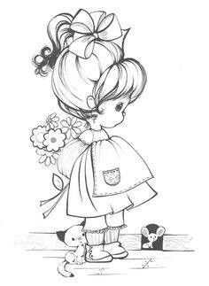 """Two images from Hallmark """"Charmer"""" Coloring Book by whalan Precious Moments Coloring Pages, Coloring Book Pages, Digital Stamps, Coloring Pages For Kids, Kids Coloring, Cute Drawings, Embroidery Patterns, Paper Embroidery, Doily Patterns"""