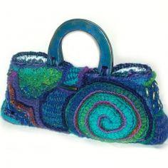 OOAK Handbag Tote Purse Carry bag Freeform Crochet by rensfibreart Crochet Handbags, Crochet Purses, Crochet Bags, Crochet Tunic, Crochet Dresses, Freeform Crochet, Bead Crochet, Crochet Edgings, Crochet Motif