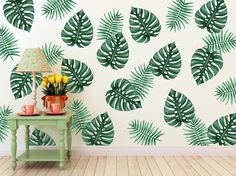 Vinyl Wall Sticker Decal Art Palm Branches by urbanwalls on Etsy Wall Painting Decor, Wall Decor, Art Mural, Wall Murals, Do It Yourself Design, Wall Patterns, Design Patterns, Vinyl Wall Stickers, Removable Wall Decals