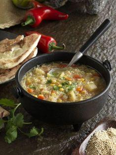 "Quinoa Soup (""Sopa de Quinua"" recipe from Bob's Red Mill quinoa bag).   We made this and added black beans & chicken... DELISH!"